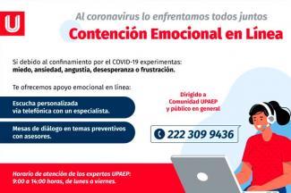 UPAEP te apoya en esta pandemia, con el servicio de 'Contención Emocional en Línea'