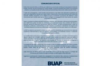 Suspende BUAP viajes oficiales internacionales de alumnos o profesores por coronavirus