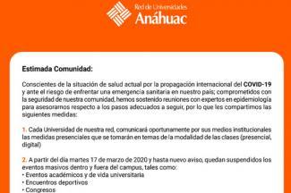 Anáhuac suspende clases y eventos masivos a partir del 17 de marzo