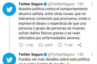 Twitter no tolerará comportamiento abusivo que exprese deseos de muerte